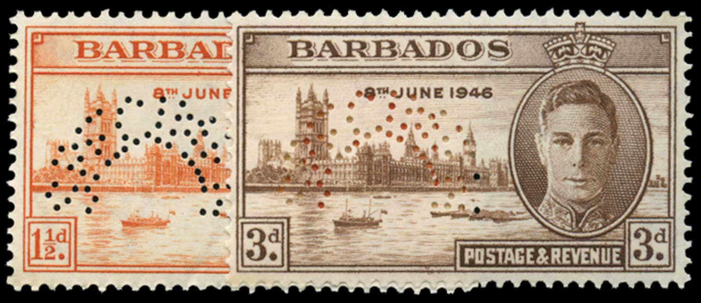 BARBADOS 1946  SG262s/3s Specimen