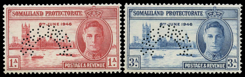 SOMALILAND PROTECT 1946  SG117s/18s Specimen