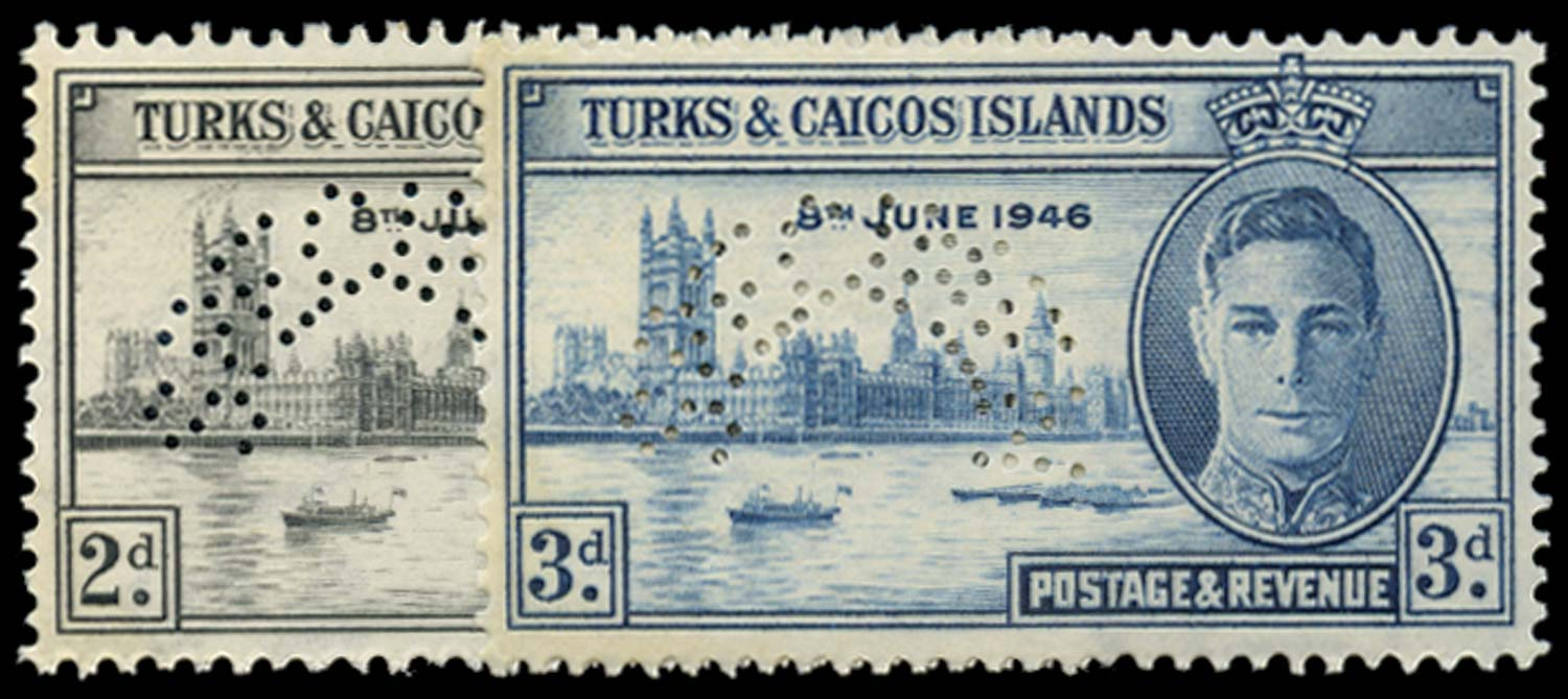TURKS & CAICOS IS 1946  SG206s/7s Specimen