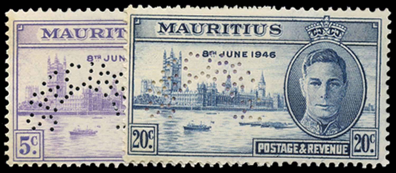 MAURITIUS 1946  SG264s/5s Specimen