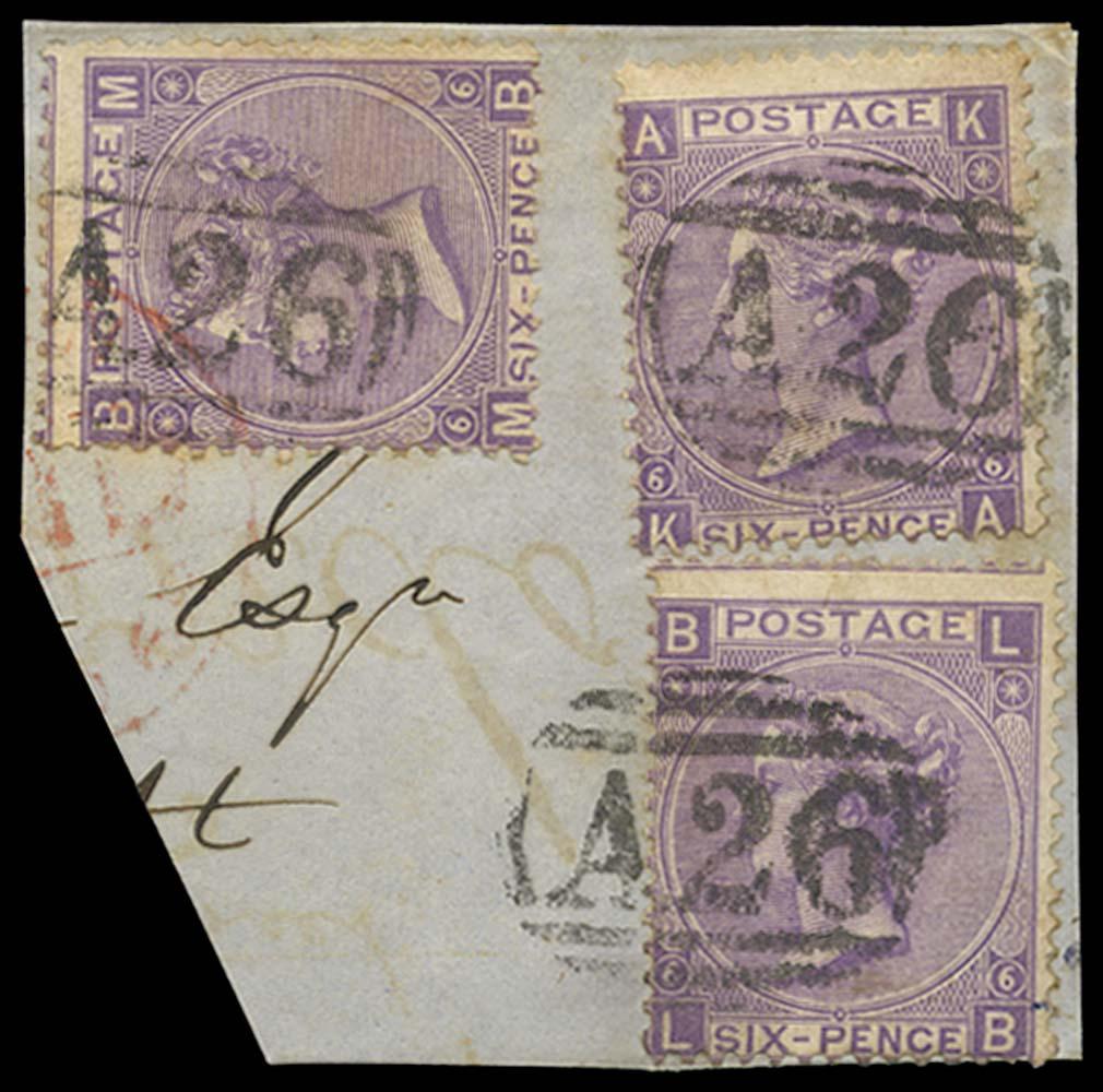 GIBRALTAR 1867-70  SGZ46 Pl 6 Cancel