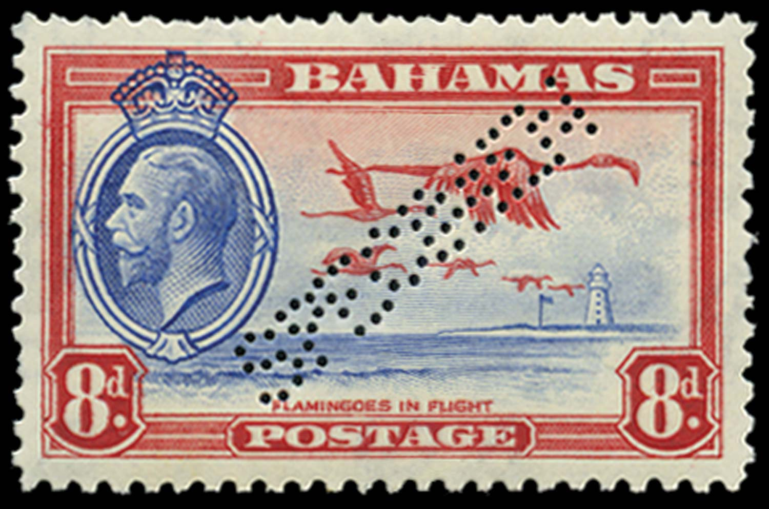 BAHAMAS 1935  SG145s Specimen 8d Flamingos and Lighthouse unmounted