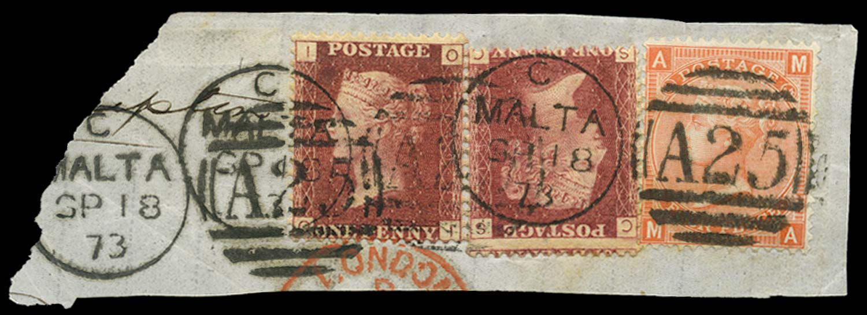 MALTA 1864-79  SGZ30, 49 Cancel