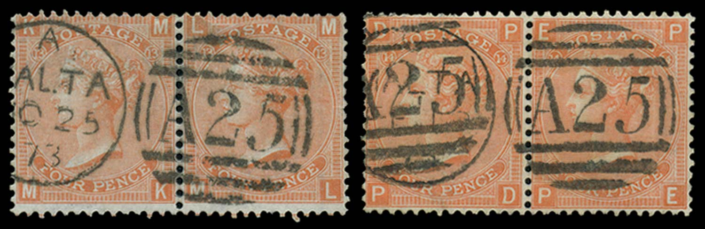 MALTA 1865-73  SGZ49 Pl 13, 14 Cancel