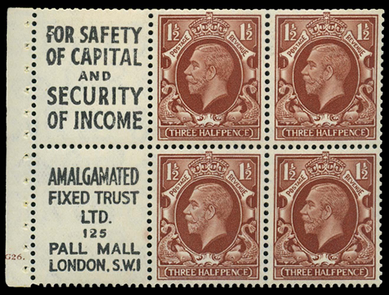 GB 1935  SG441e Booklet pane
