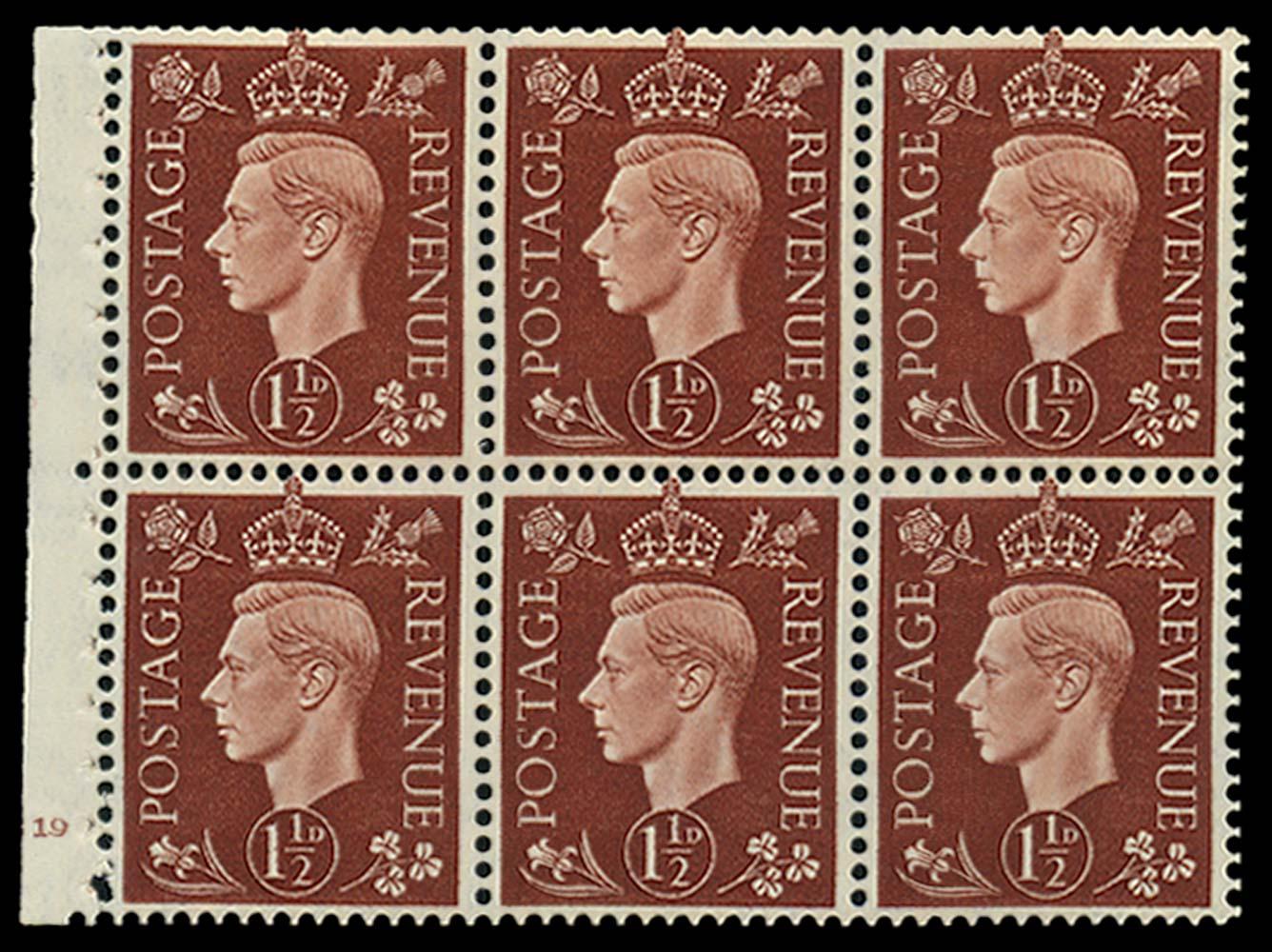 GB 1937  SG464c var Booklet pane