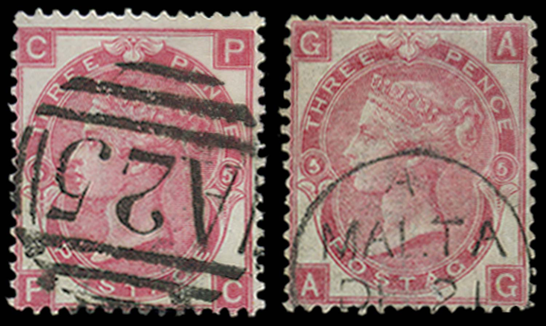 MALTA 1867-73  SGZ43 Pl 5 Cancel