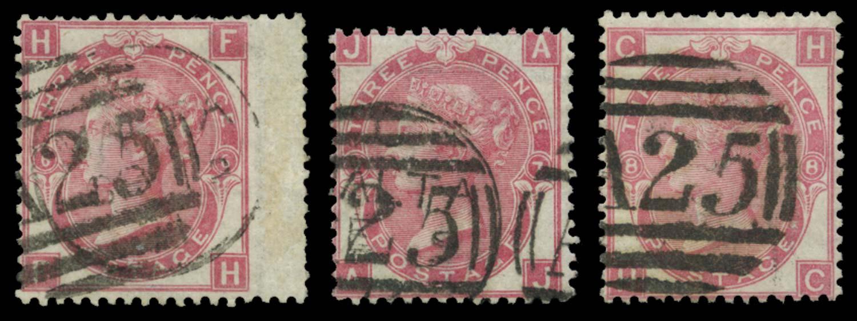 MALTA 1867-73  SGZ43 Pl 6, 7, 8 Cancel