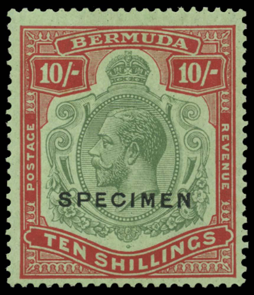 BERMUDA 1924  SG92bs Specimen 10s variety Broken crown and scroll
