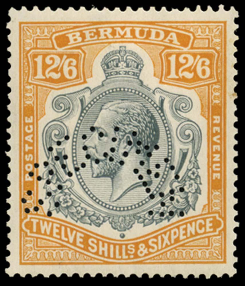 BERMUDA 1924  SG93as Specimen 12s6d variety Break in scroll