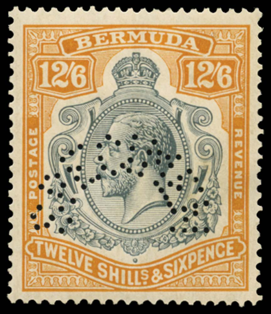 BERMUDA 1924  SG93bs Specimen 12s6d variety Broken crown and scroll