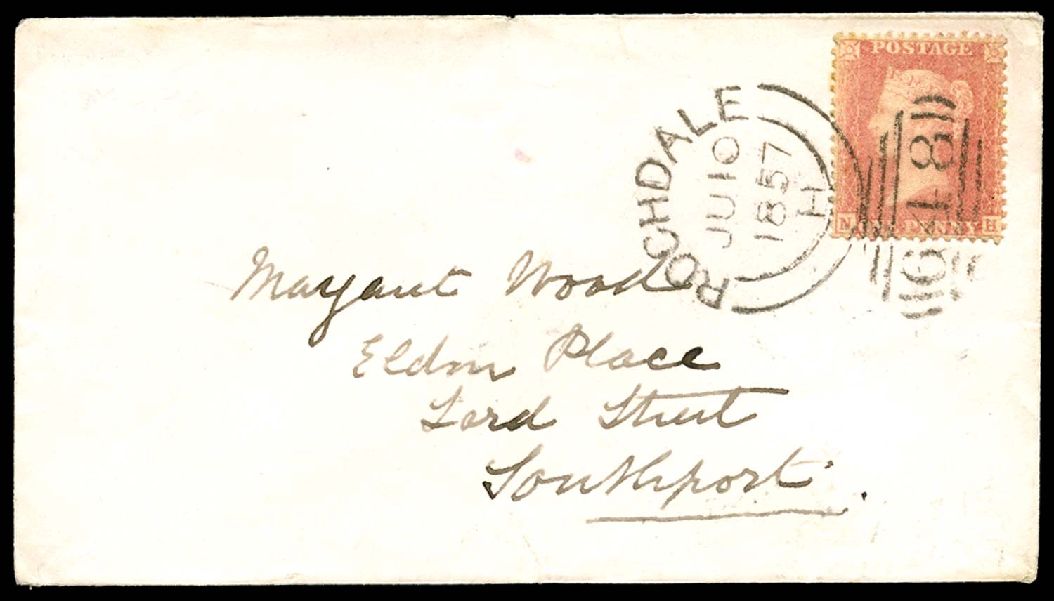 GB 1857  SG39var Pl.43 Cover