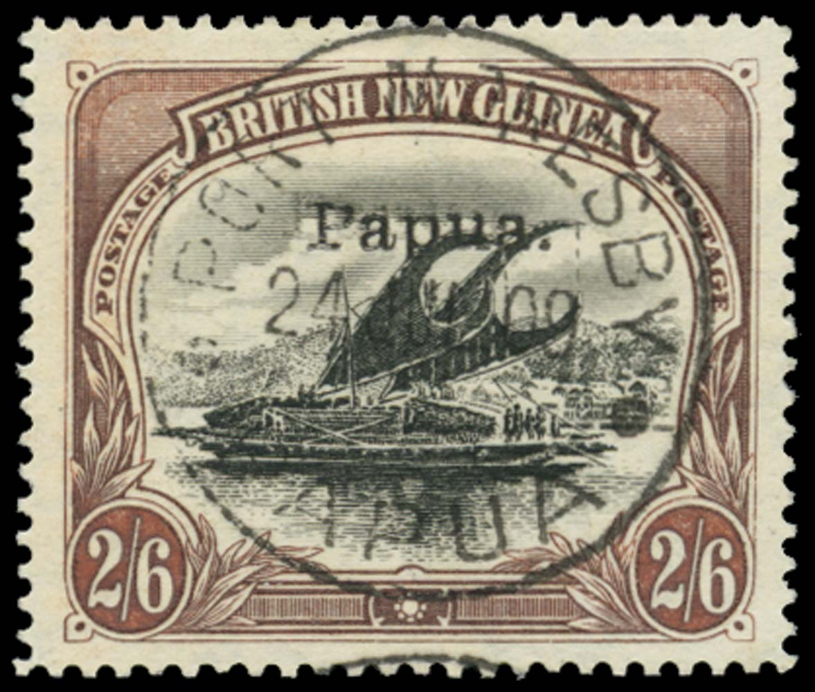 PAPUA 1907  SG37c Used 2s6d small Papua error OVERPRINT DOUBLE
