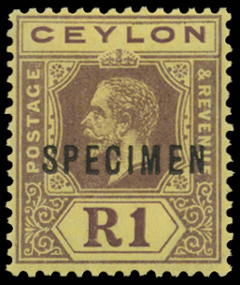 CEYLON 1912-25  SG315ds Specimen