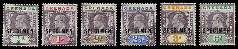 GRENADA 1902  SG57s/62s var Specimen