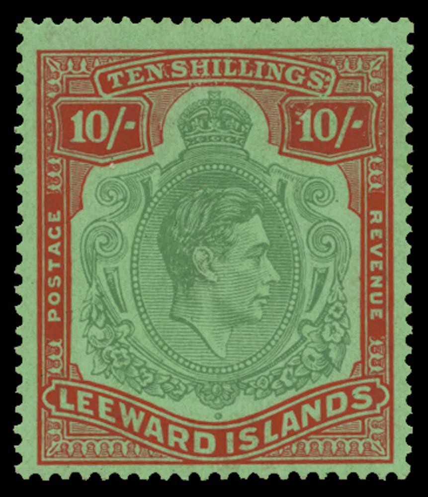 LEEWARD ISLANDS 1938  SG113b var Mint 10s variety Damaged cliche R4/8