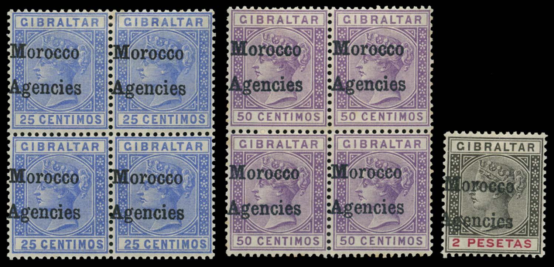 MOROCCO AGENCIES 1898-1900  SG4, 6f, 8 Mint
