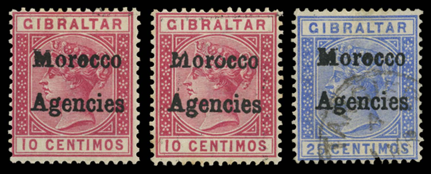 MOROCCO AGENCIES 1898-1900  SG2c, 4c Mint 10c, 25c Damaged M