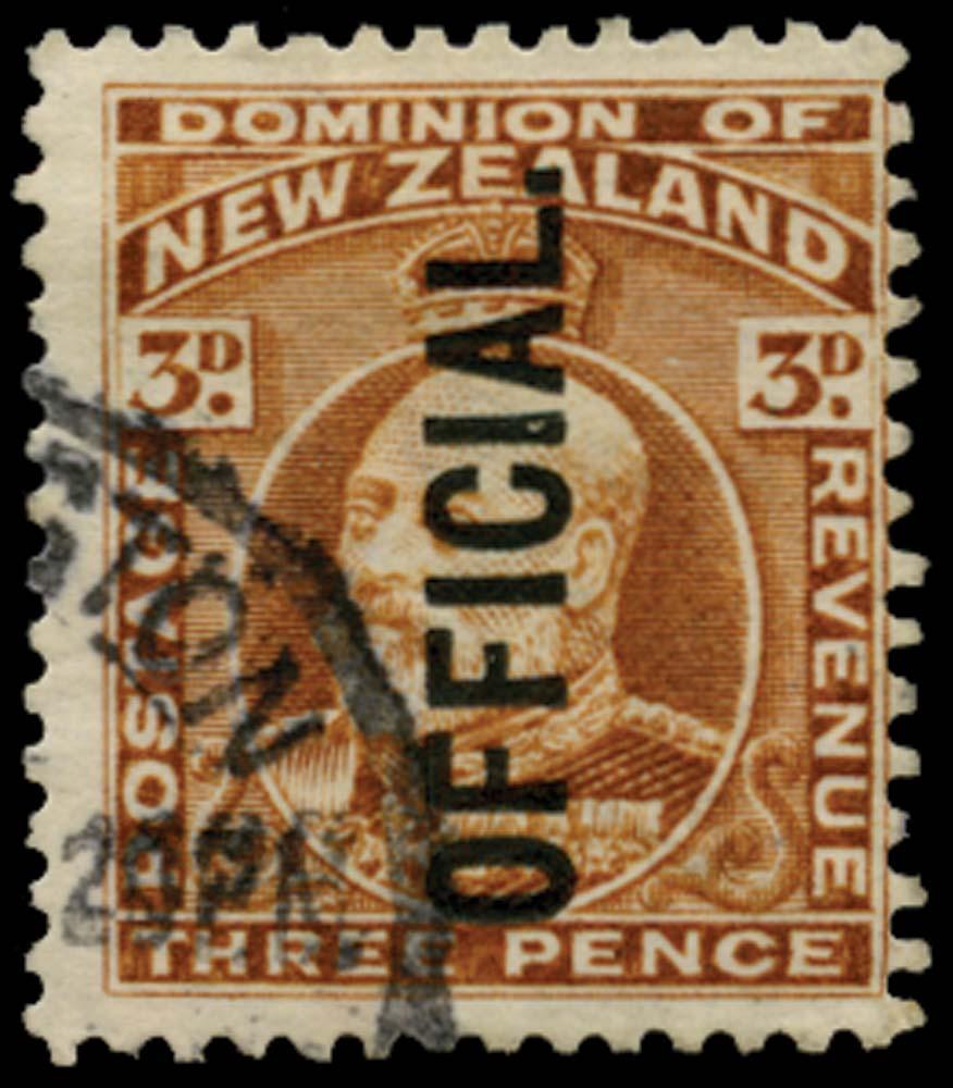 NEW ZEALAND 1910  SGO74a Official