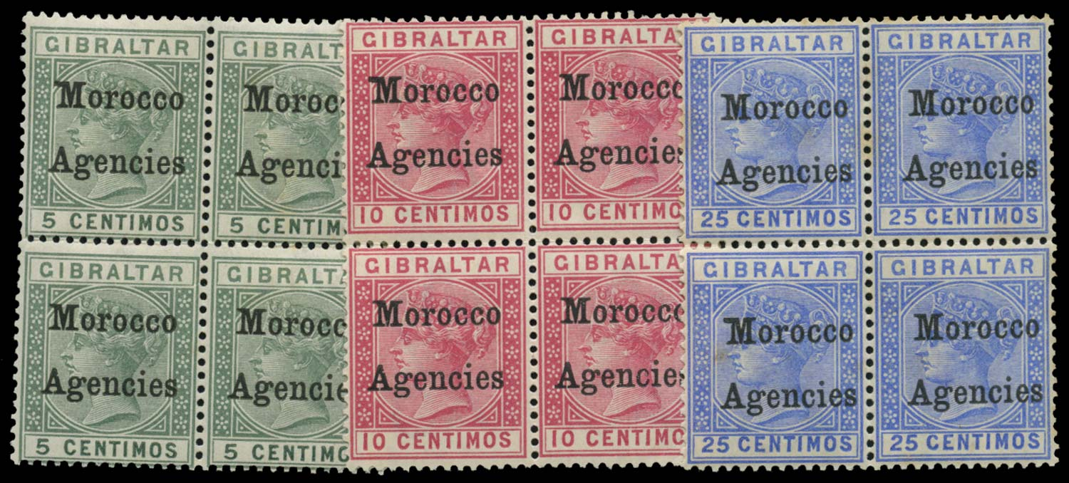 MOROCCO AGENCIES 1899  SG9/b, 10/b, 12/b Mint