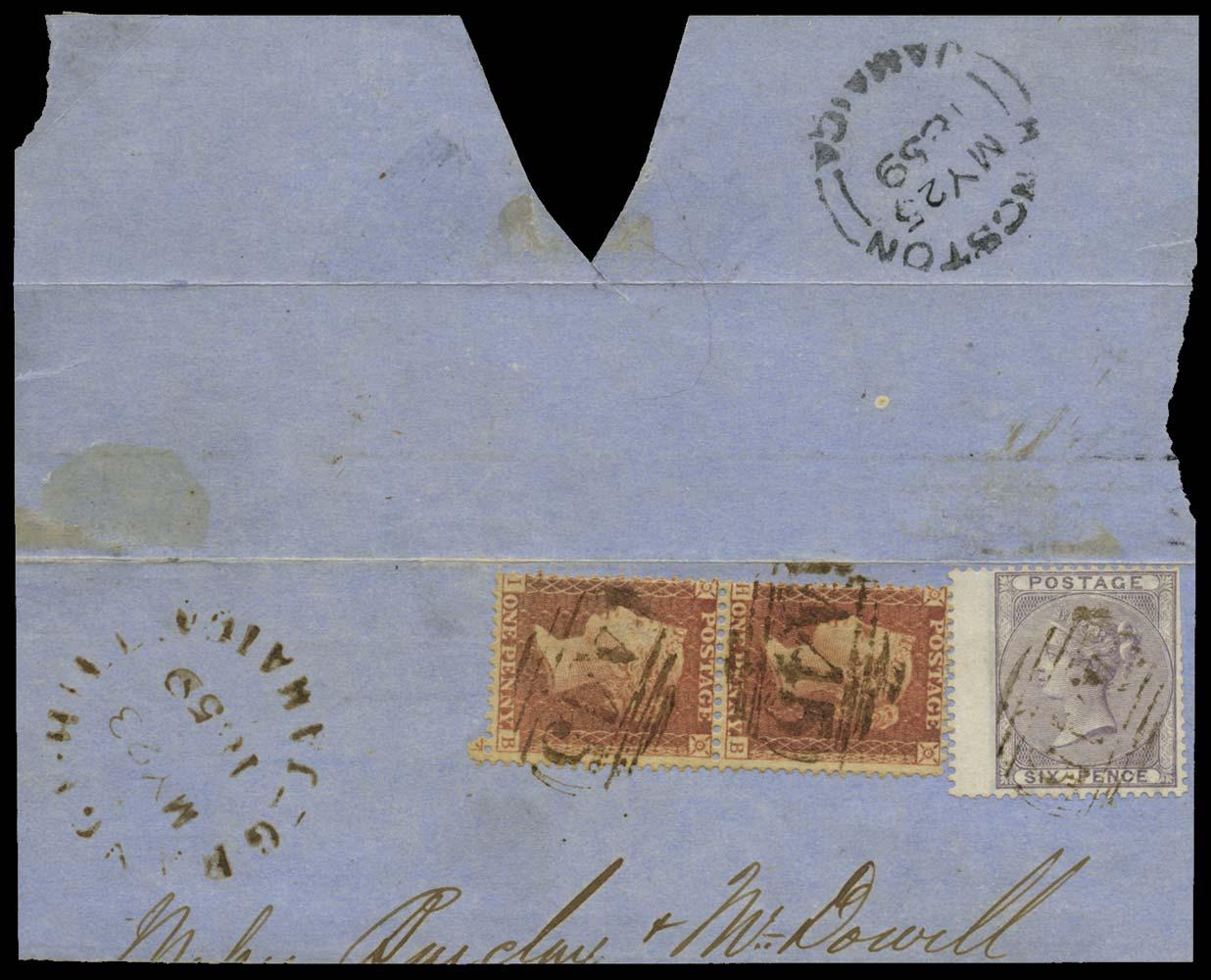 JAMAICA 1859  SGZ45, 47 Cancel