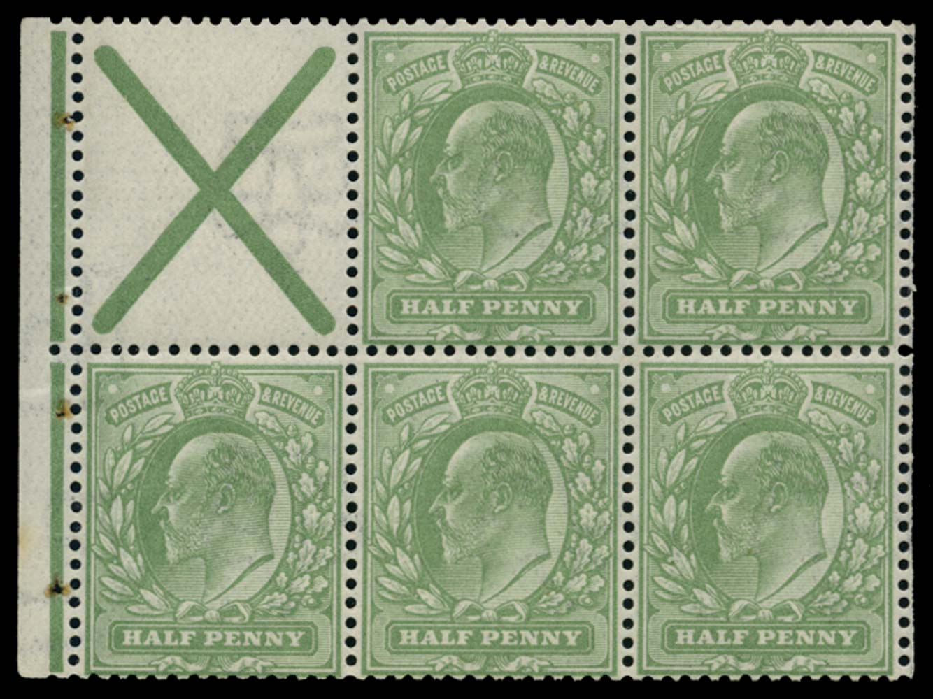 GB 1906  SG218aw Booklet pane