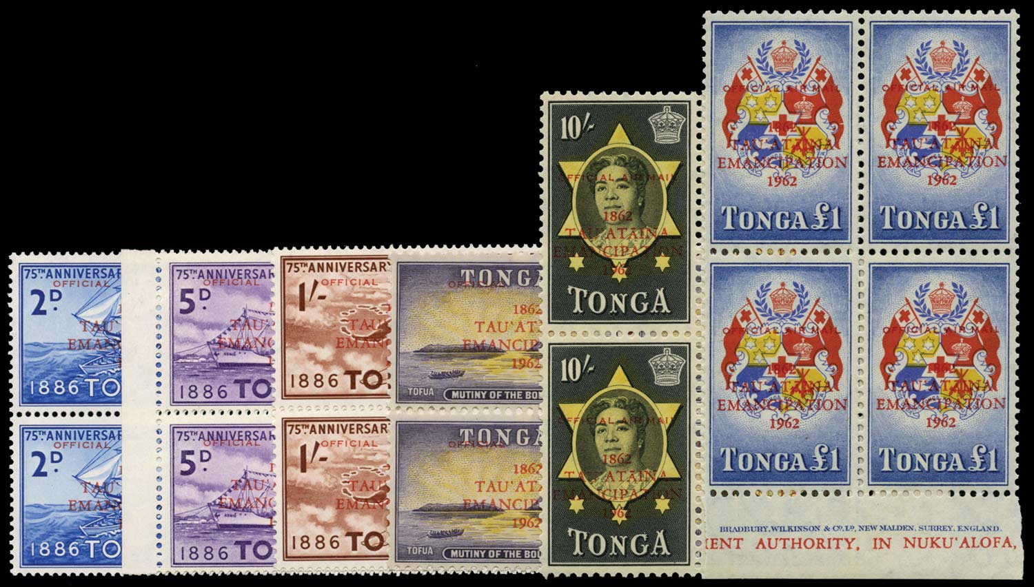 TONGA 1962  SGO11/16 Official Emancipation airmail set in blocks unmounted