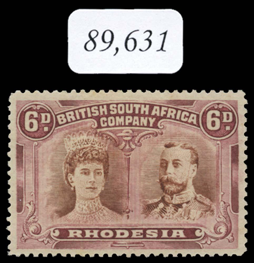 RHODESIA 1910  SG145a var Mint