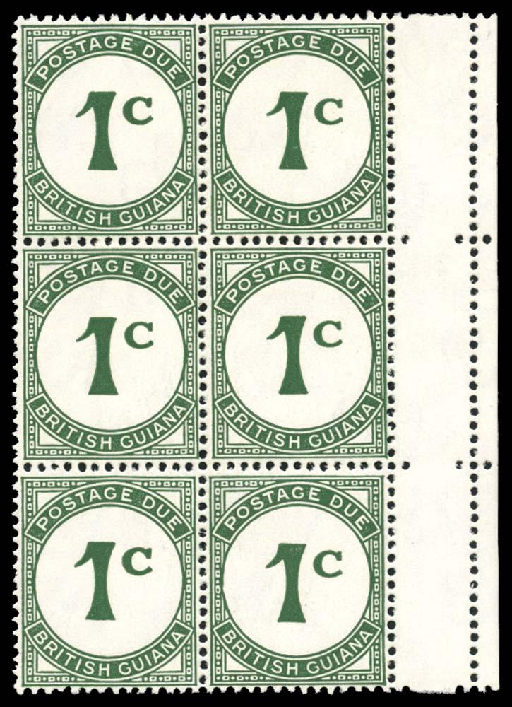 BRITISH GUIANA 1940  SGD1/ac Postage Due 1c St Edward's Crown watermark
