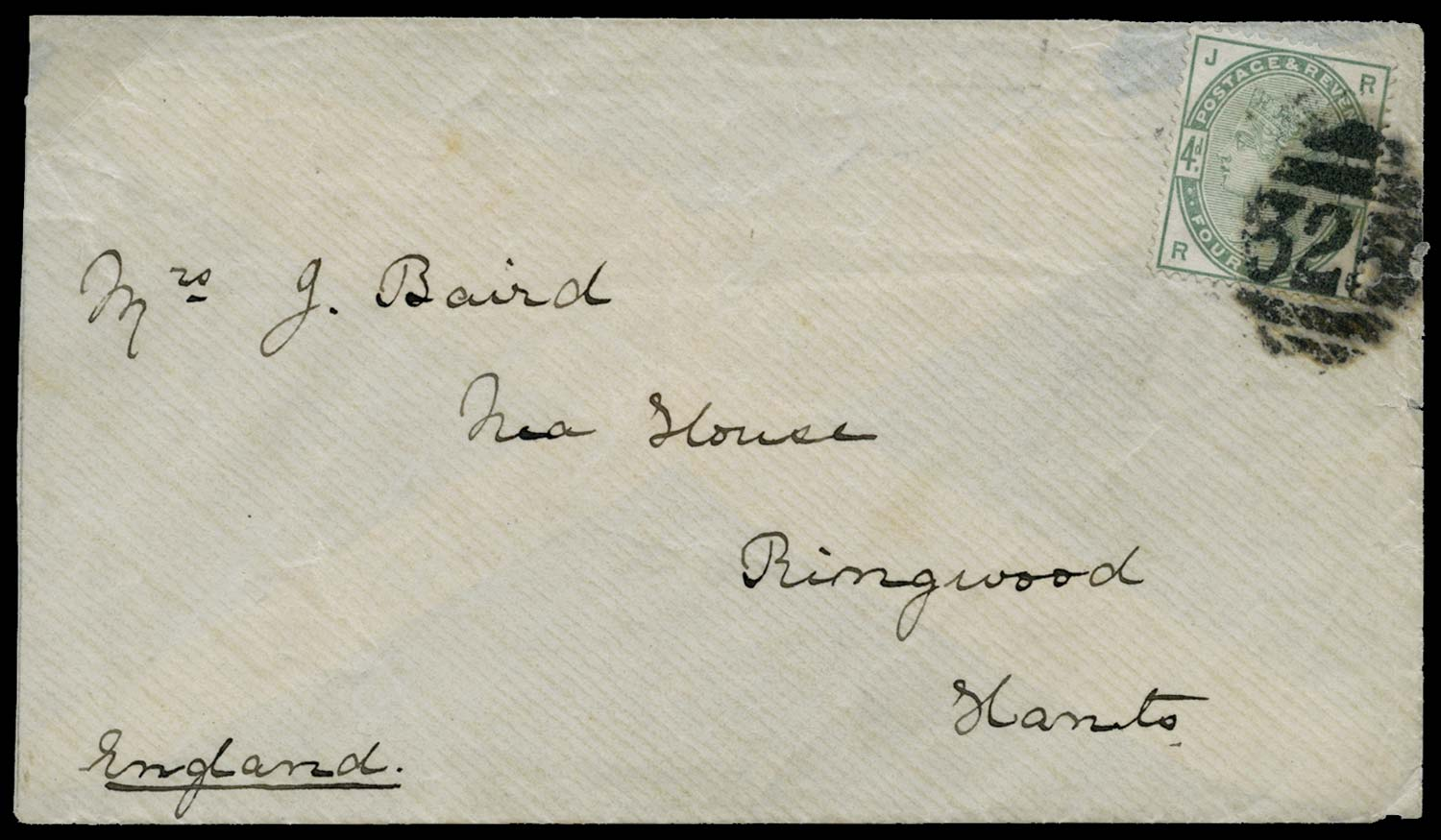 GB 1884-85  SG192 Cover from a serving overseas Naval Officer