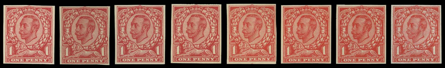 GB 1911  SG341var Trial set of eight on wove paper