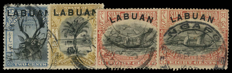 LABUAN 1897  SG90, 91b, 94a Cancel