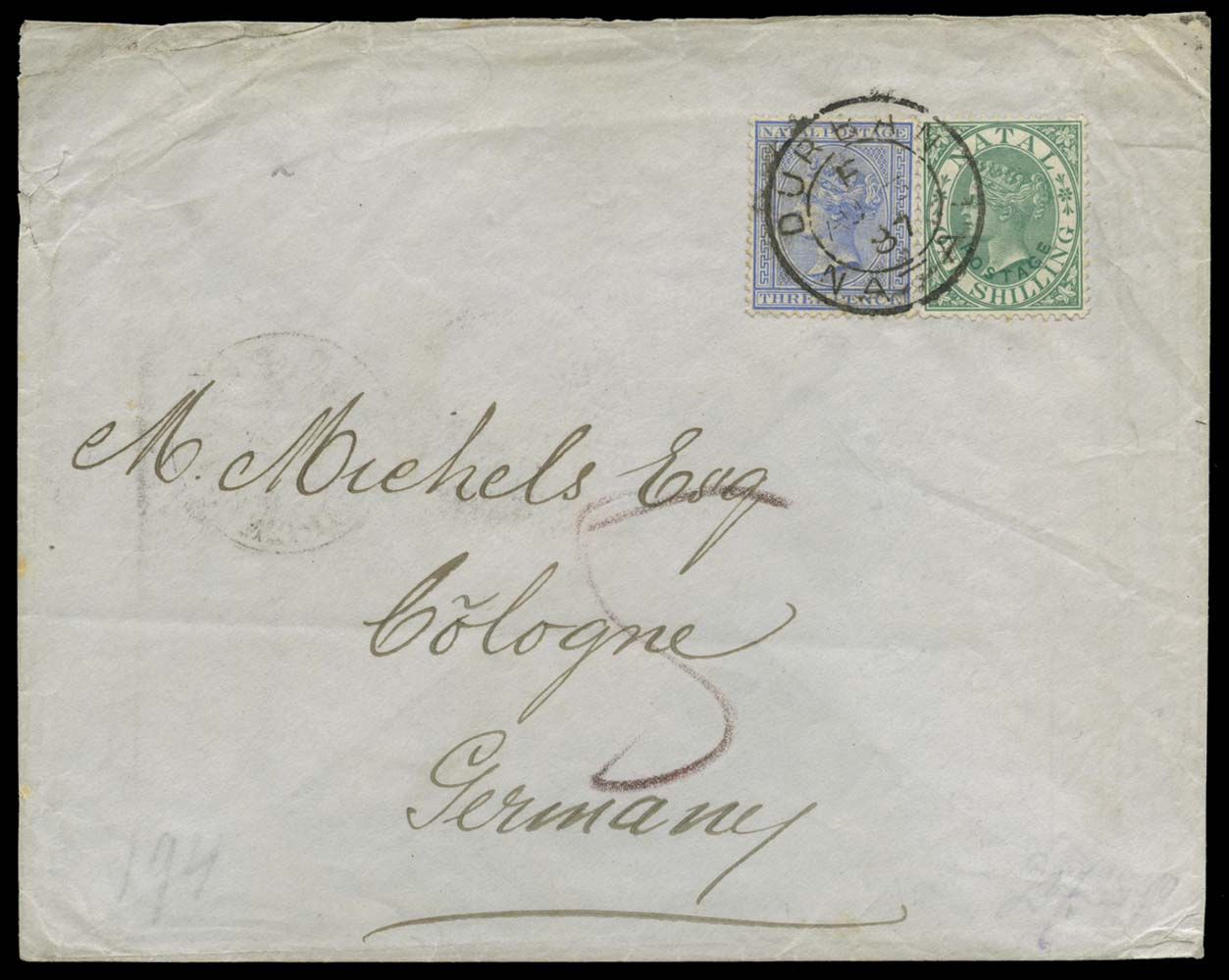 NATAL 1887  SG59, 100 Cover