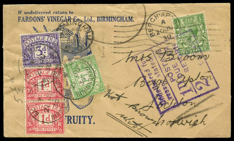 GB 1930  SGSG418,D10,D11,D14 Postage Due - printed matter bulk return sending