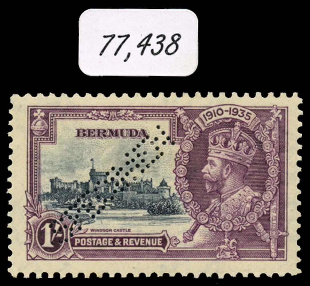BERMUDA 1935  SG97ks Specimen Silver Jubilee 1s variety Kite and vertical log
