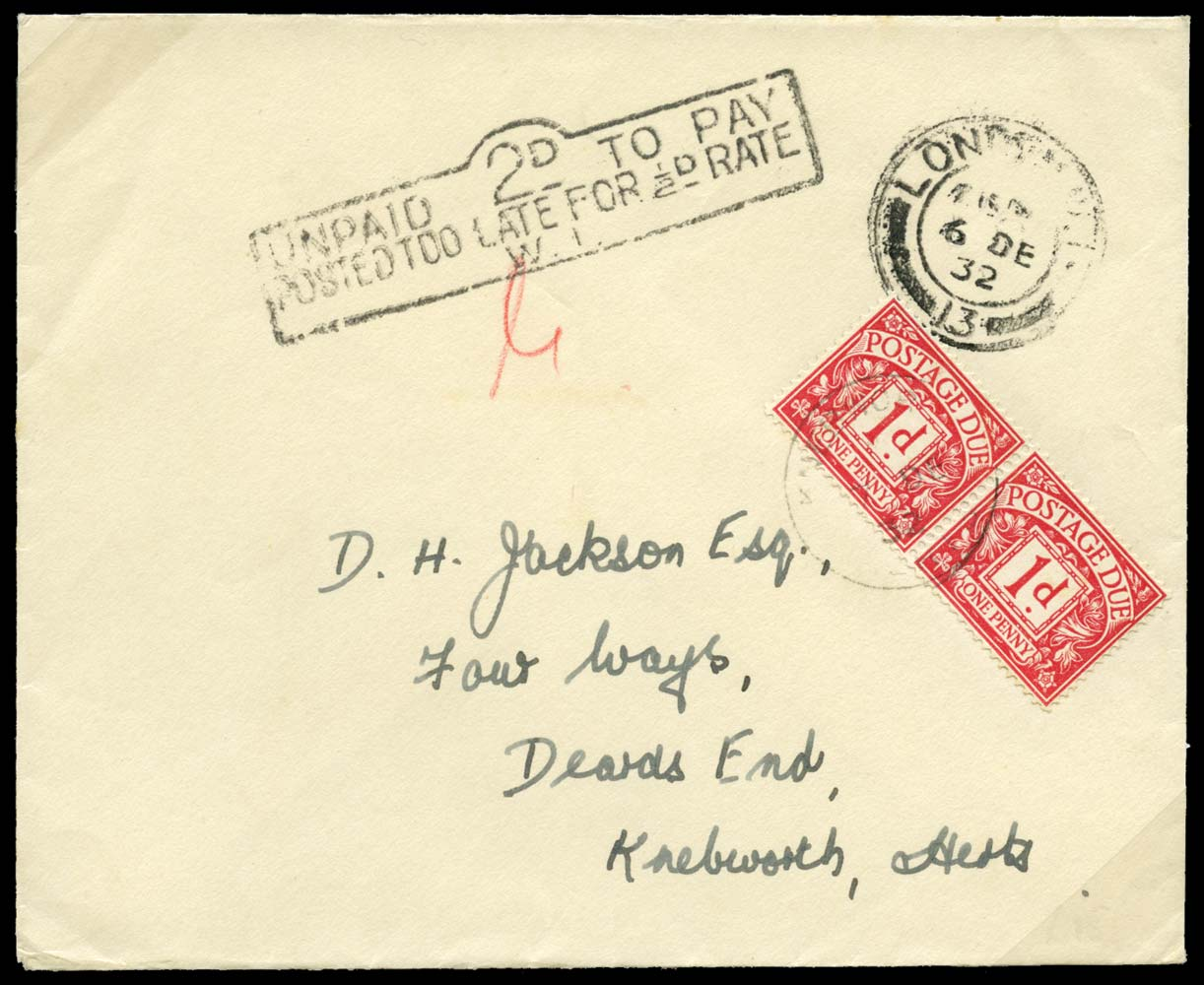 GB 1932  SGD11 Postage Due - Too Late For ½d Rate