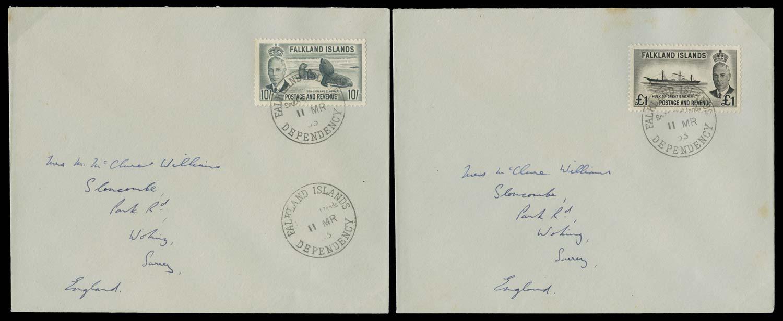 FALKLAND ISLAND DEPS 1953  SGZ166, 167 Cover