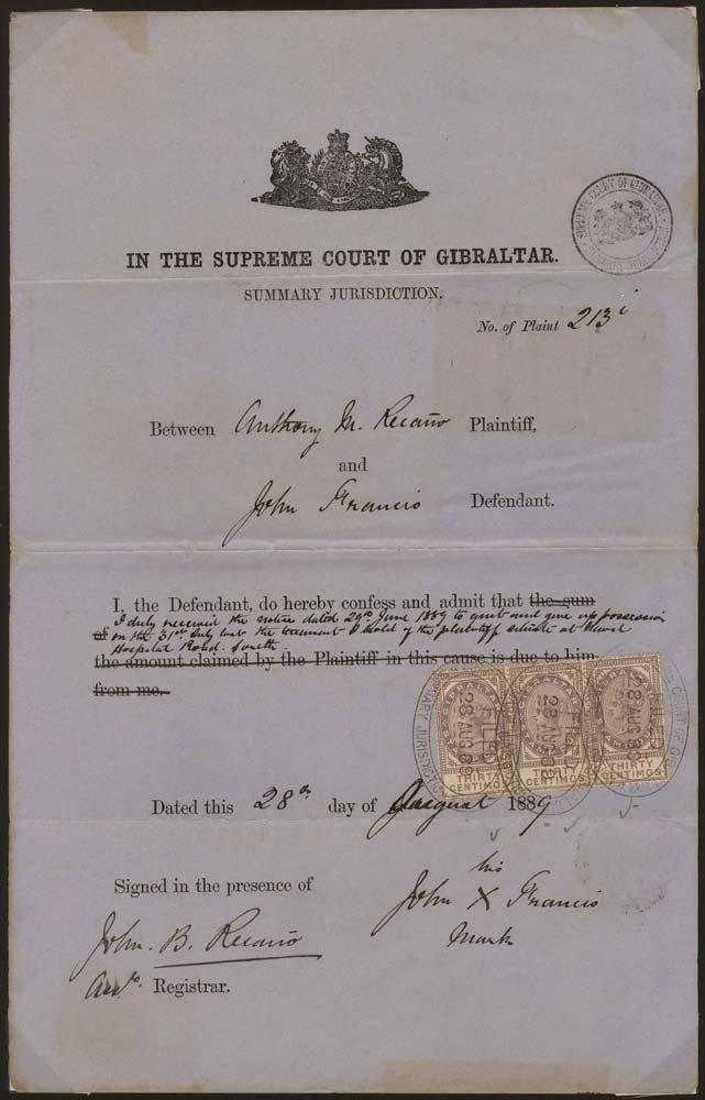 GIBRALTAR 1889 Revenue