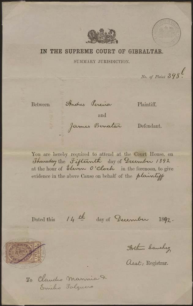 GIBRALTAR 1892 Revenue