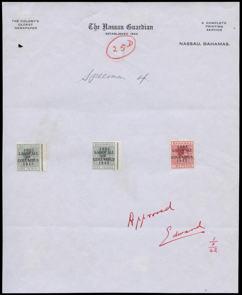 BAHAMAS 1942  SG162/3, 164 Proof