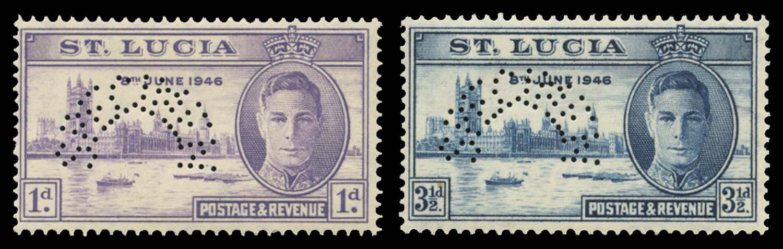 ST LUCIA 1946  SG142s/3s Specimen