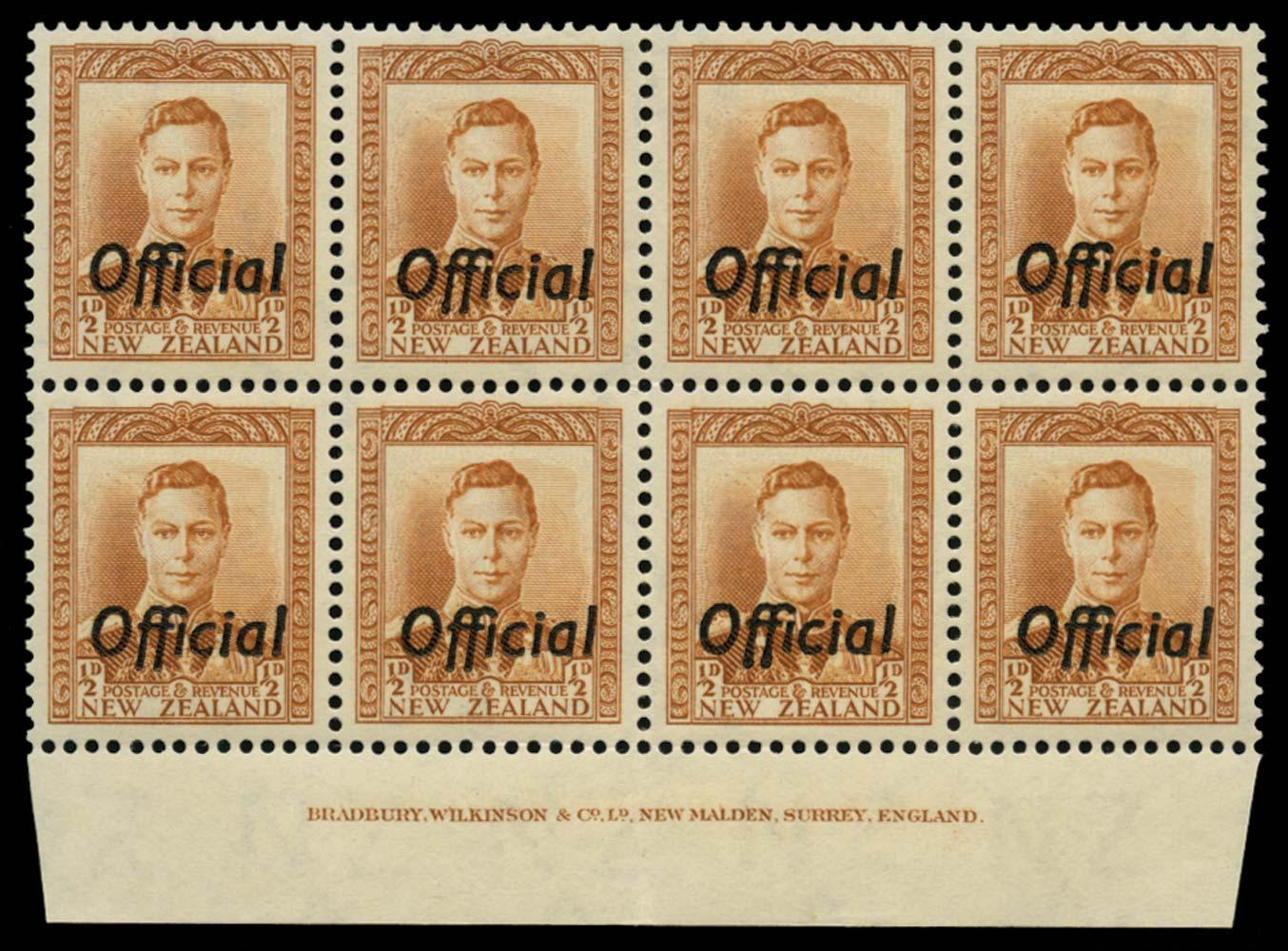 NEW ZEALAND 1938  SGO135 Official