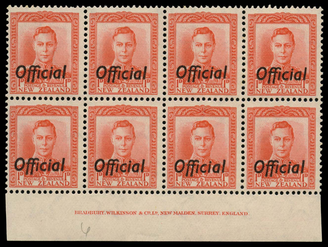 NEW ZEALAND 1938  SGO136 Official