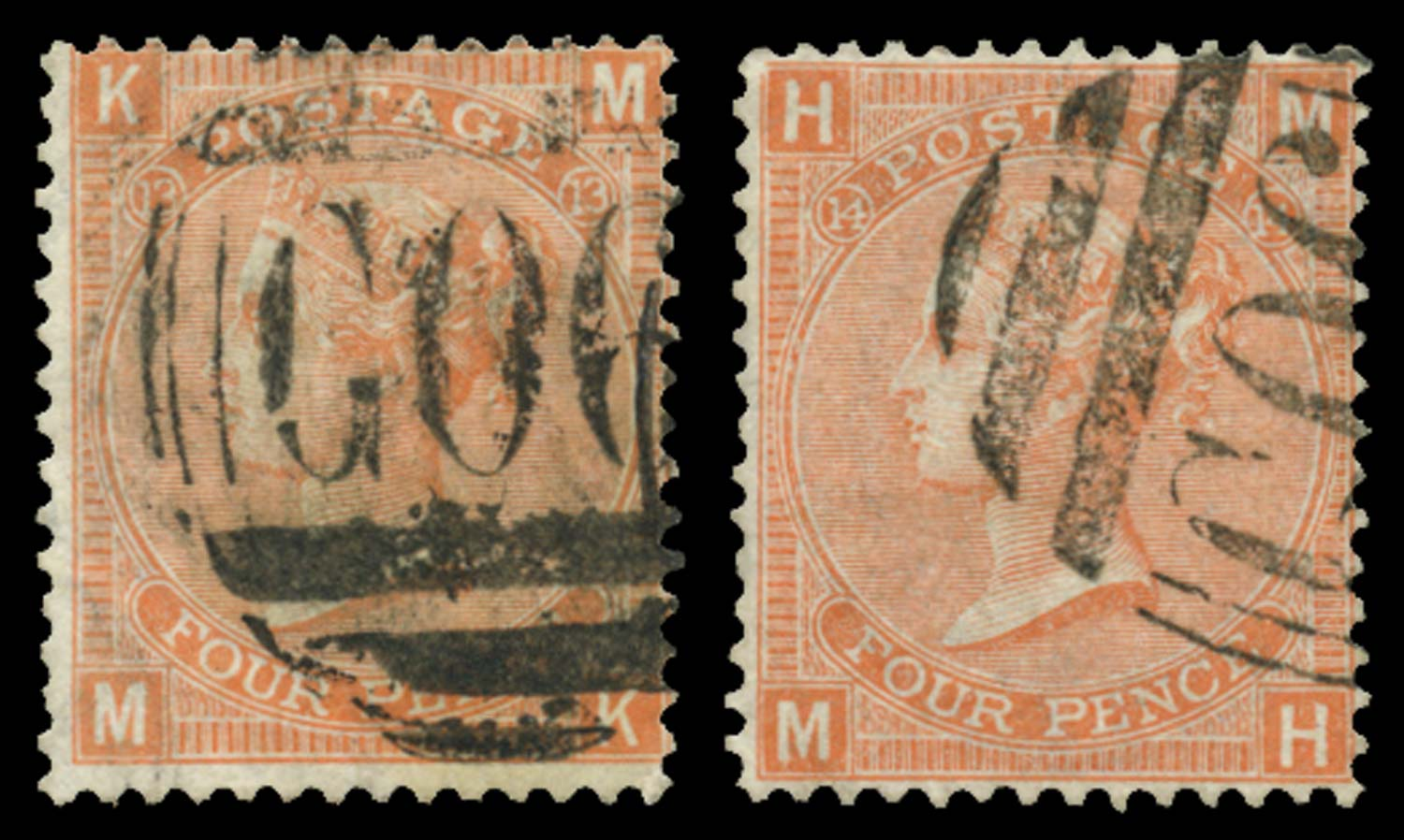 BRITISH LEVANT 1865  SGZ13 Pl.13, 14 Cancel