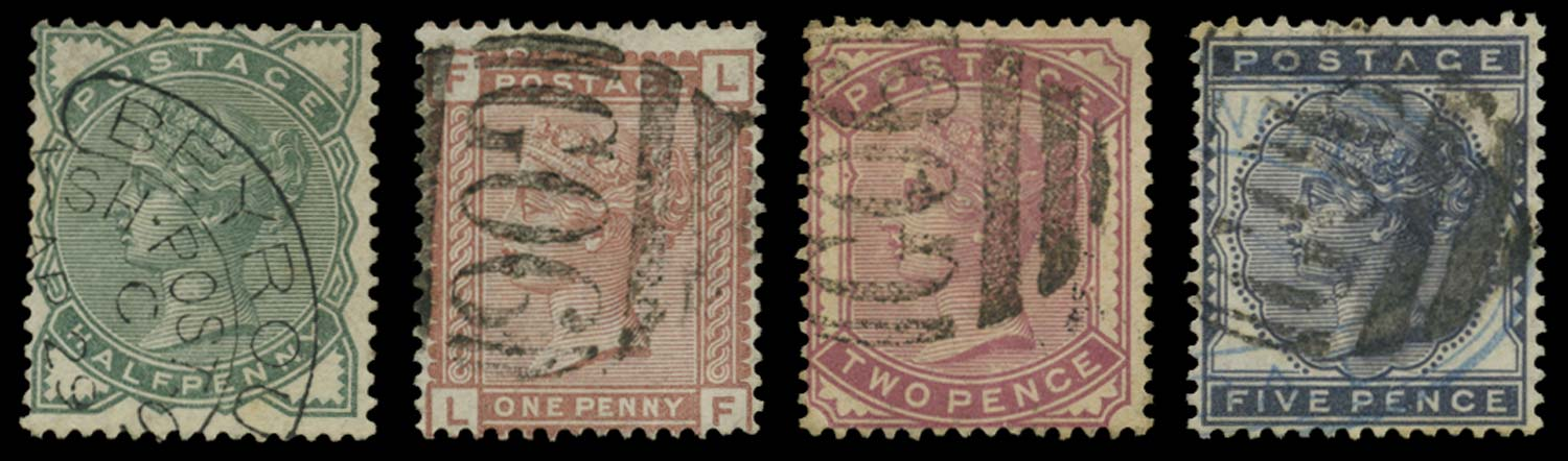 BRITISH LEVANT 1880  SGZ31,33,36/7 Cancel