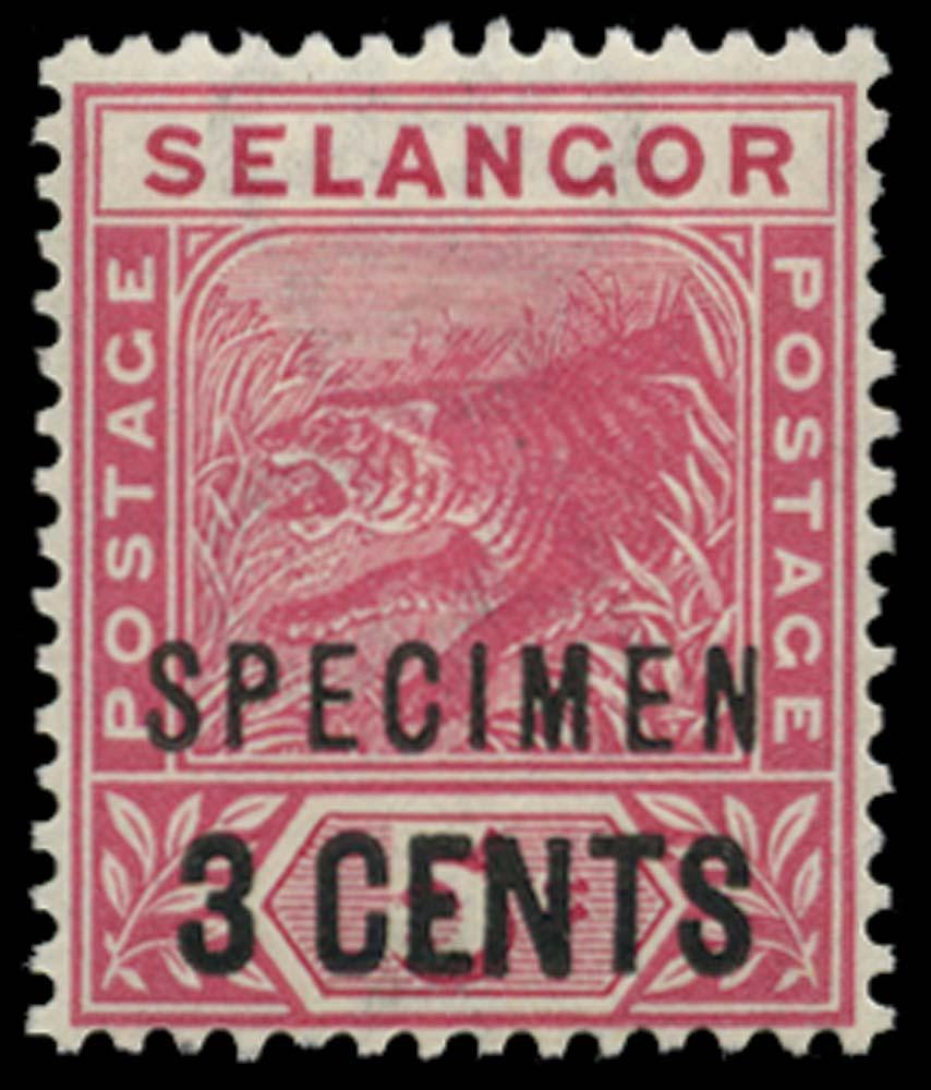 MALAYA - SELANGOR 1894  SG53s Specimen