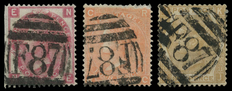 BRITISH LEVANT 1865  SGZ221, 223, 228 Cancel
