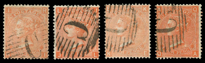 BRITISH LEVANT 1865  SGZ92 Pl.10, 11, 12 Cancel