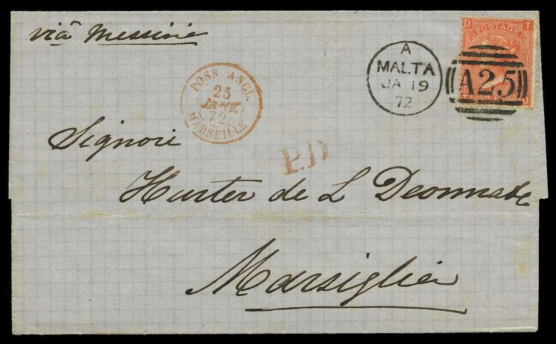 MALTA 1872  SGZ49 pl.12 Cover