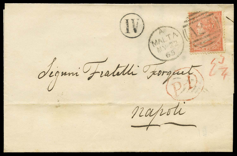 MALTA 1865  SGZ48 pl.4 Cover